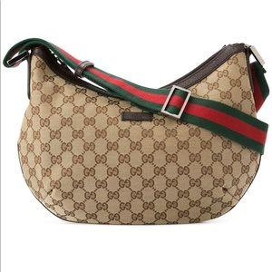 Gucci Saddle Zip Monogram Canvas Crossbody